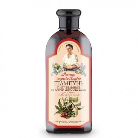 Receptury Babuszki Agafii – szampon odżywczy do włosów cienkich i rozdwajających się, mydlnica lekarska